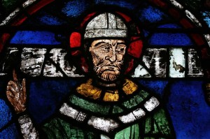 Stained glass portrait of St Thomas Becket from Canterbury Cathedral. Wikimedia Commons CC-BY-SA-3.0.